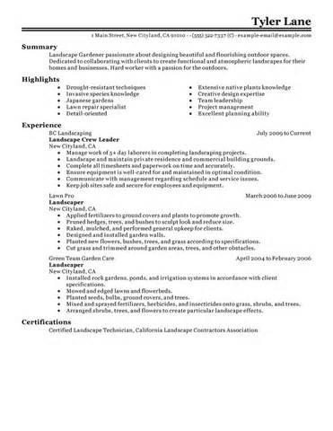 landscaping skills for resume best landscaping resume exle livecareer