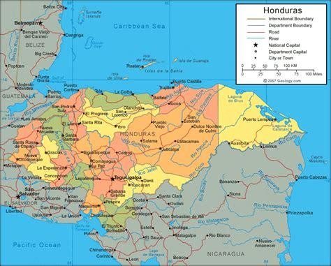 honduras map  satellite image