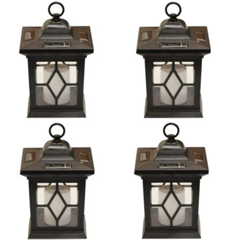 woodside 4 x solar powered flickering hanging candle