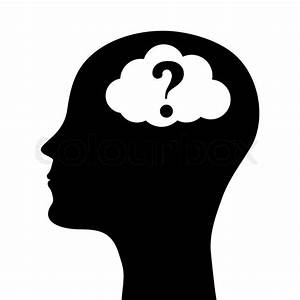 Human head silhouette with a question mark. vector | Stock ...