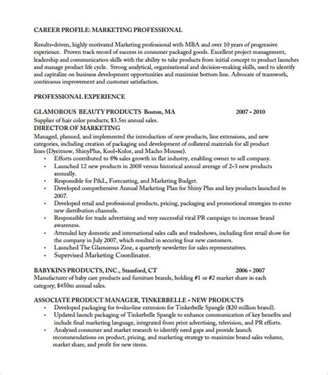 resume for product manager