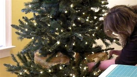 how to put mesh ribbon on a christmas tree add deco mesh to tree part 3