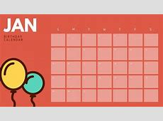 Red Balloons Illustrations Birthday Calendar Templates