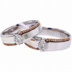 diamond solitaire wedding bands rings his her set 18k gold With diamond wedding rings for her