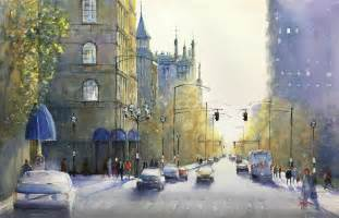 Watercolor Painting City