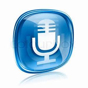 Microphone icon blue, isolated on white background | Stock ...
