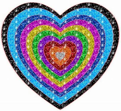 Glitter Heart Rainbow Hearts Animated Glittering Graphics