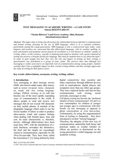 text messaging  academic writing  case study