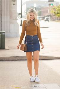 Cropped Sweater and Denim Skirt