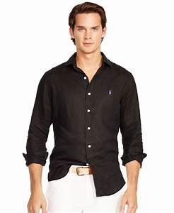 Lyst - Polo Ralph Lauren Men's Linen Estate Shirt in Black ...