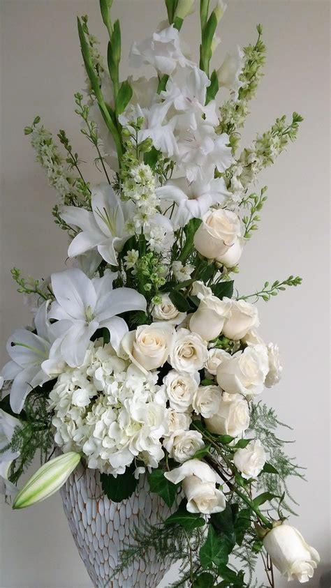 tall white arrangement white gladiolus white oriental