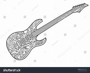 Electric Guitar Coloring Book Adults Vector Stock Vector 388073464 Shutterstock