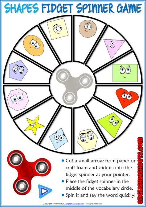 shapes esl printable fidget spinner game  kids