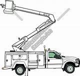 Truck Clip Boom Clipart Crane Bucket Cherry Picker Vector Coloring sketch template