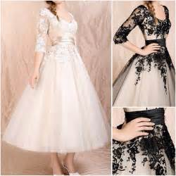 wedding dress 3 4 sleeve china new chagne black lace bridal wedding gown ankle tea length 3 4 sleeve a line