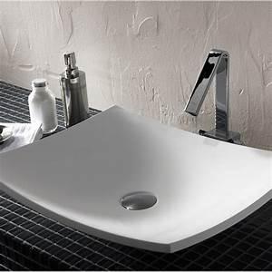 vasque a poser resine de synthese l50 x p40 cm blanc With salle de bain design avec vasque à poser en verre rectangulaire