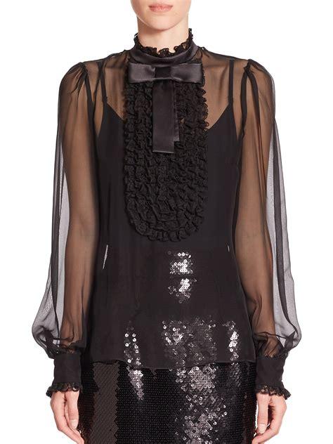 sheer chiffon blouse dolce gabbana sheer chiffon ruffle bib blouse in black