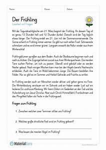 Arbeitsblatt  Lesetext Zum Fr U00fchling  Mit 3 Fragen