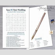Custom Wedding Game, Diy Printable (or) Printed, Word Find, Word Search, Crossword Puzzle