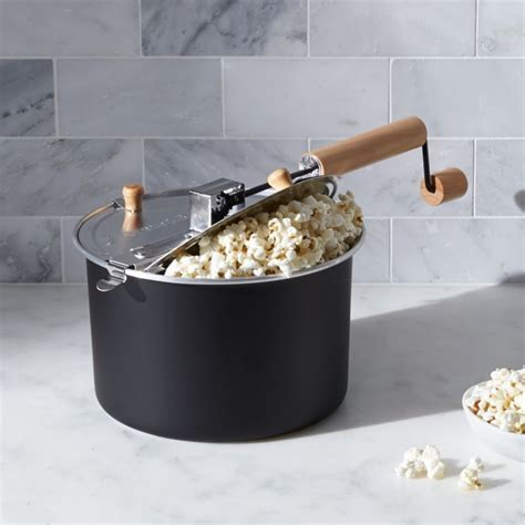 Stovetop Black Popcorn Popper   Crate and Barrel