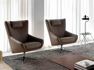 Fauteuil Pivotant Cuir : fauteuil pivotant capitonn en cuir avec base en acier ~ Teatrodelosmanantiales.com Idées de Décoration
