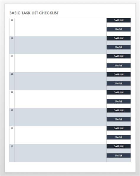 task checklist templates smartsheet