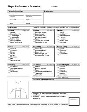 basketball player evaluation form pdf basketball player evaluation fill printable fillable blank pdffiller