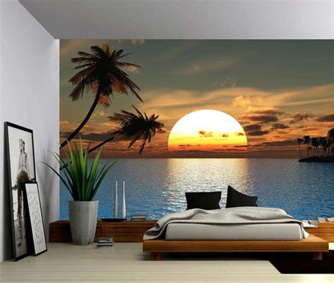 tropical sunset ocean palm tree large wall mural