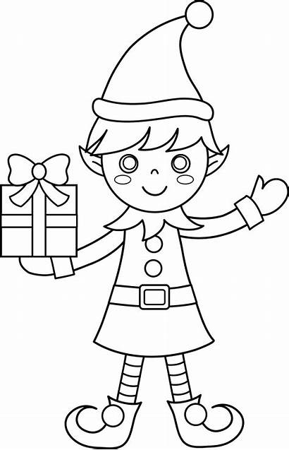 Coloring Christmas Clipart Elf Pages Clip Elves