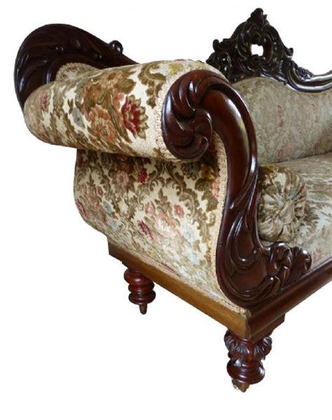 Antique Carved Mahogany Fancy Arm Quality 19th C Carved Mahogany Scroll Arm Sofa
