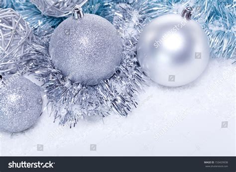 glitter silver christmas baubles decoration holidays stock