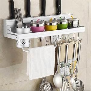 Aluminum, Kitchen, Rack, Shelf, Cooking, Utensil, Tools, Hook, Rack, Kitchen, Holder, U0026, Storage, 40cm, 60cm