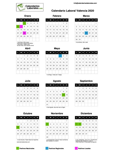 calendario laboral valencia