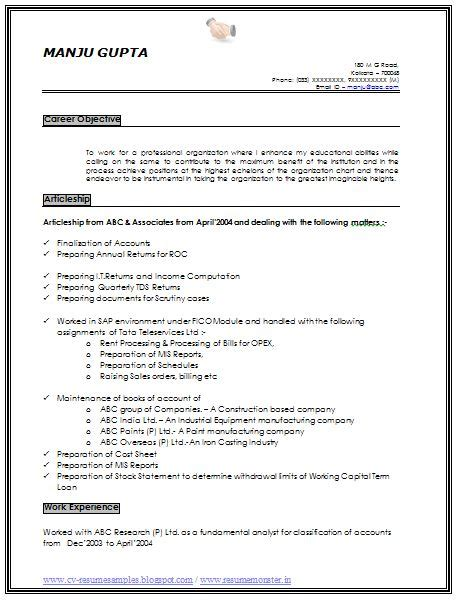 career objective for resume for 2 year experience resume sle of an experience chartered accountant with great career objective profile and