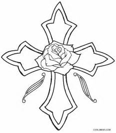 Cross with Roses Coloring Pages