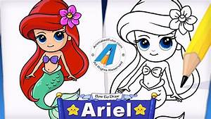 How To Draw A Mermaid Ariel The Little Mermaid Cute And