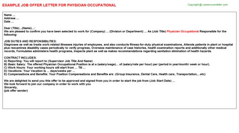 physician occupational job offer letter offer letters