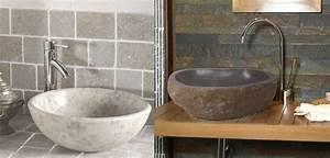 vasque lavabos en pierre noire bleue granit blog With salle de bain avec vasque en pierre