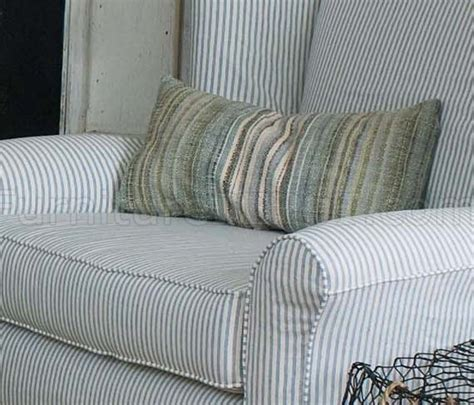 blue white striped fabric classic sofa oversize chair