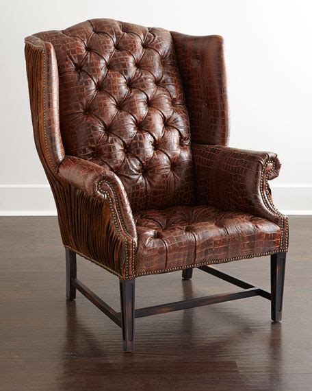 hickory tannery aidan tufted leather wing chair