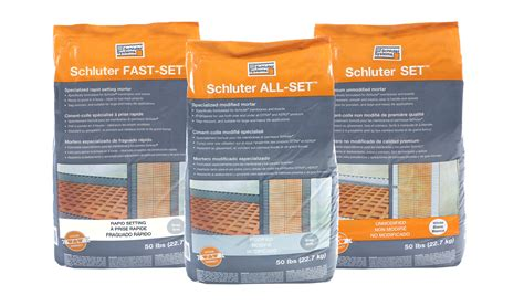 unmodified thinset for glass tile schluter systems introduces three thin set mortars