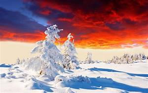 Beautiful Winter Sunset Landscape | Hd Desktop Wallpaper