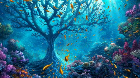 Coral Tree In The Ocean  Fantasy Art Hd Wallpaper