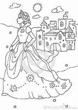 Coloring Castle Princess Royalty Colored Created Illustration Line sketch template