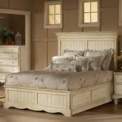 wilshire wood platform storage bed in antique white
