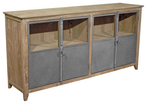 Metal Sideboard Buffet by Chaucer Industrial Loft Limed Wood And Metal Sideboard