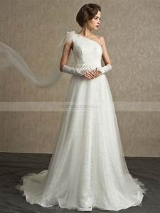asymmetrical tulle and lace a line wedding dress with With asymmetrical wedding dresses
