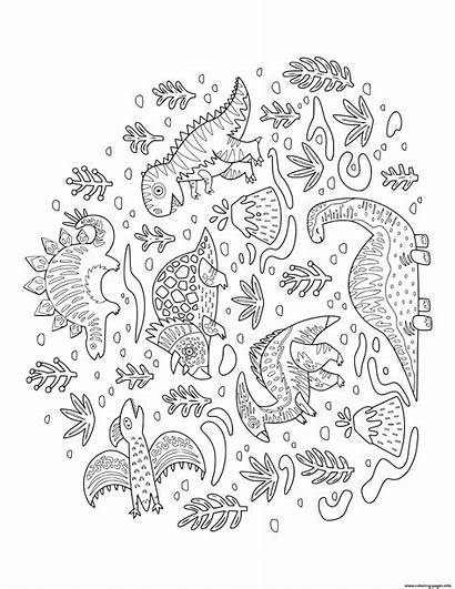 Volcano Coloring Dinosaurs Lots Dinosaur Pages Doodle
