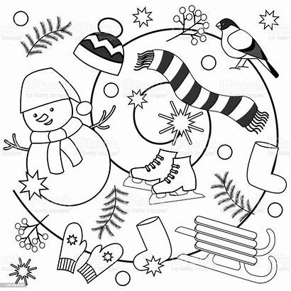 Coloring Winter Pages Adults Sheets Illustration Children