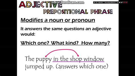 adverb and adjective prepositional phrases